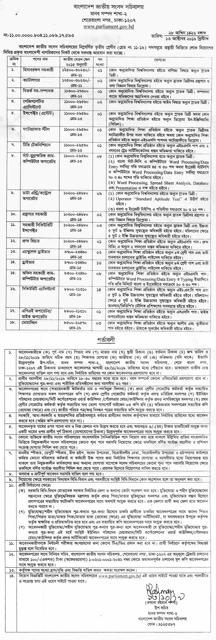 National Parliament Job Circular 2019