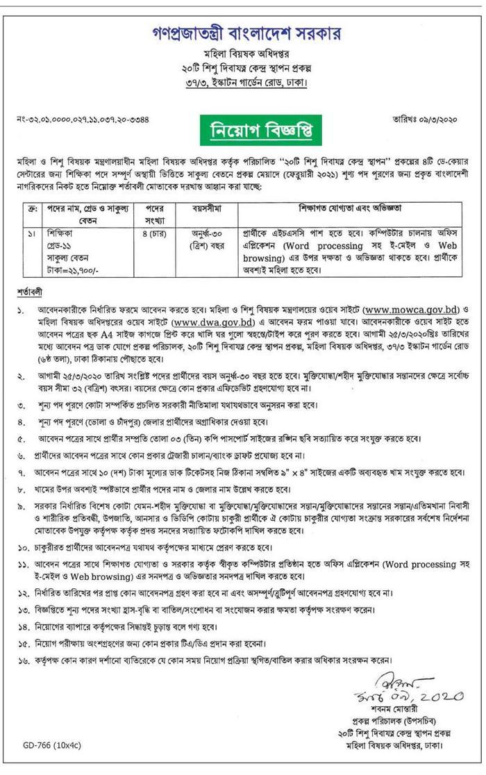 Mohila Department Job 2020