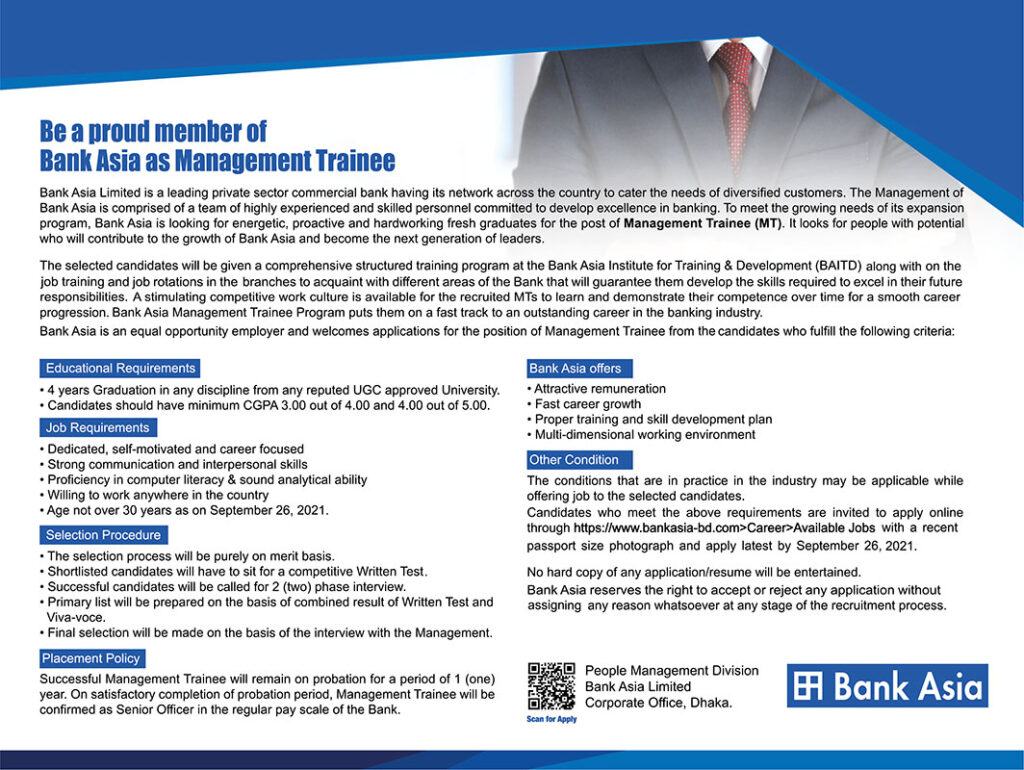 Bank Asia MTO Job Circular 2021
